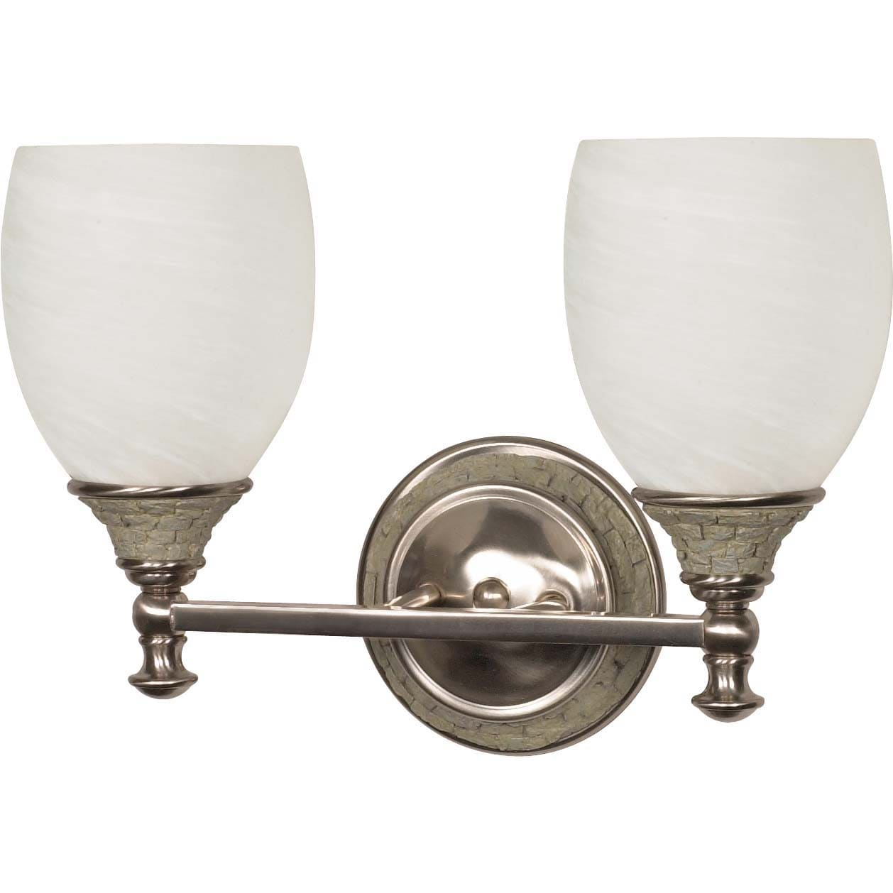 Rockport Milano Alabaster Glass Brushed Nickel 2-Light Vanity Wall Sconce