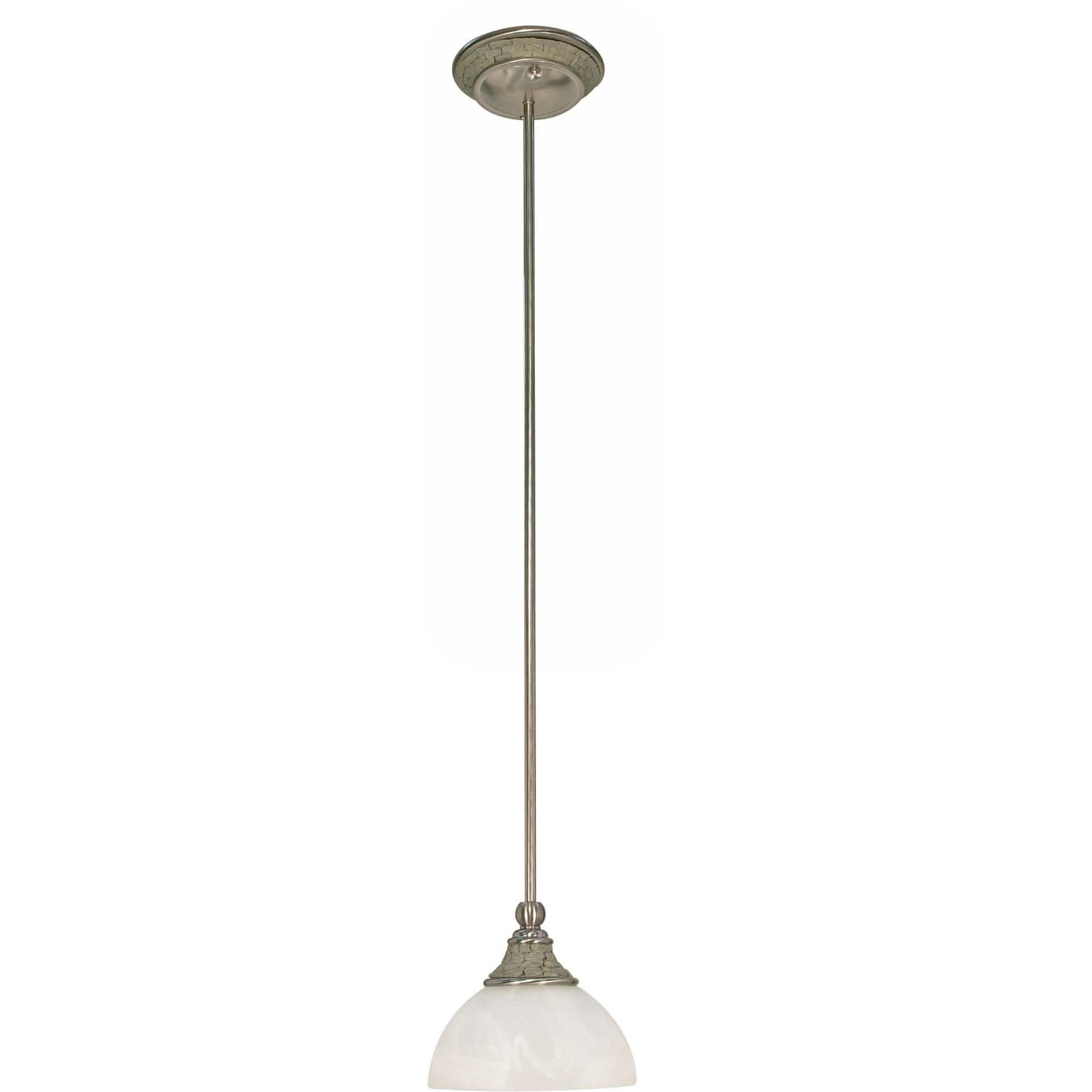 Rockport Milano Brushed Nickel Alabaster Glass 1-light Mini Pendant Fixture