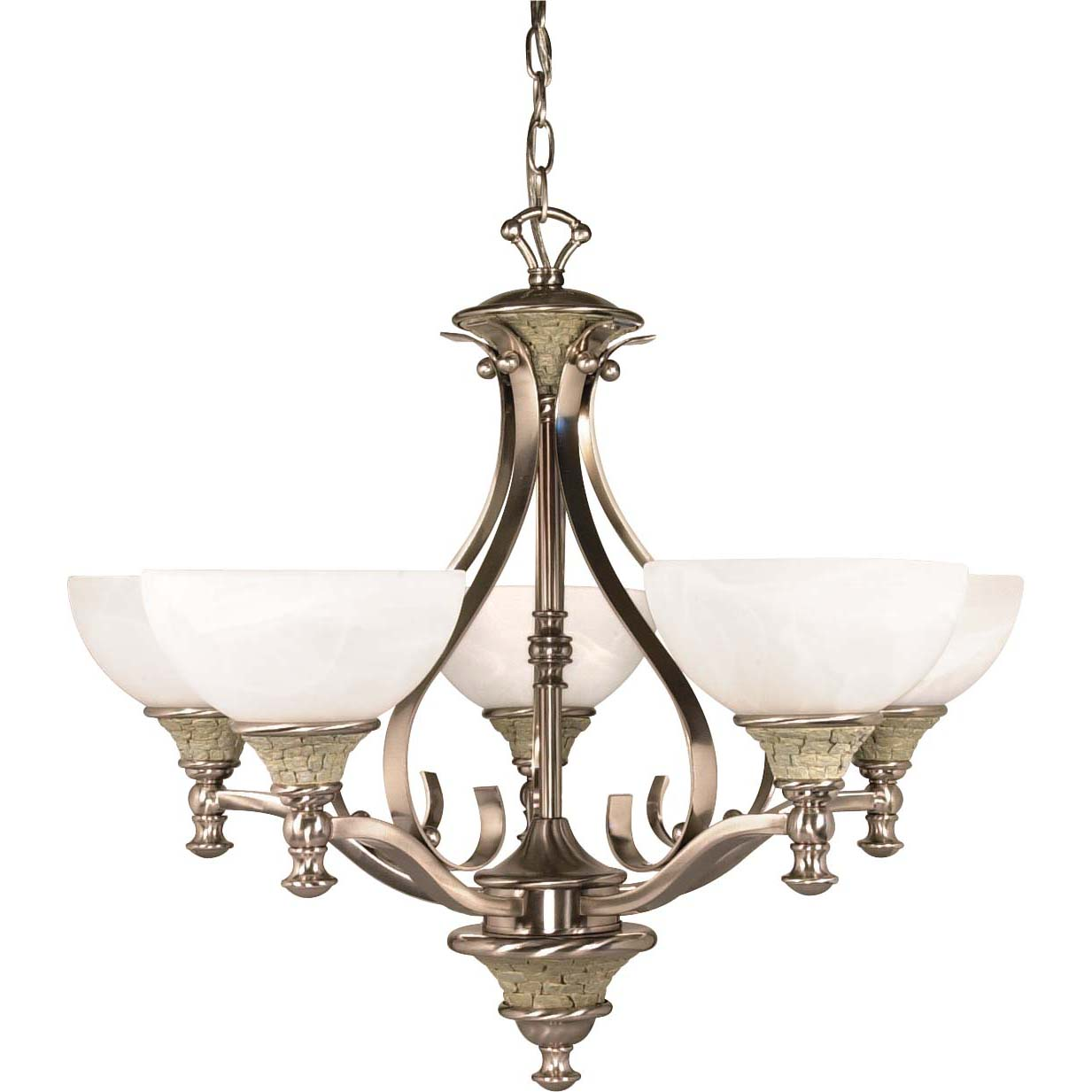 Rockport Milano Alabaster Swirl Glass Brushed Nickel 5-light Chandelier