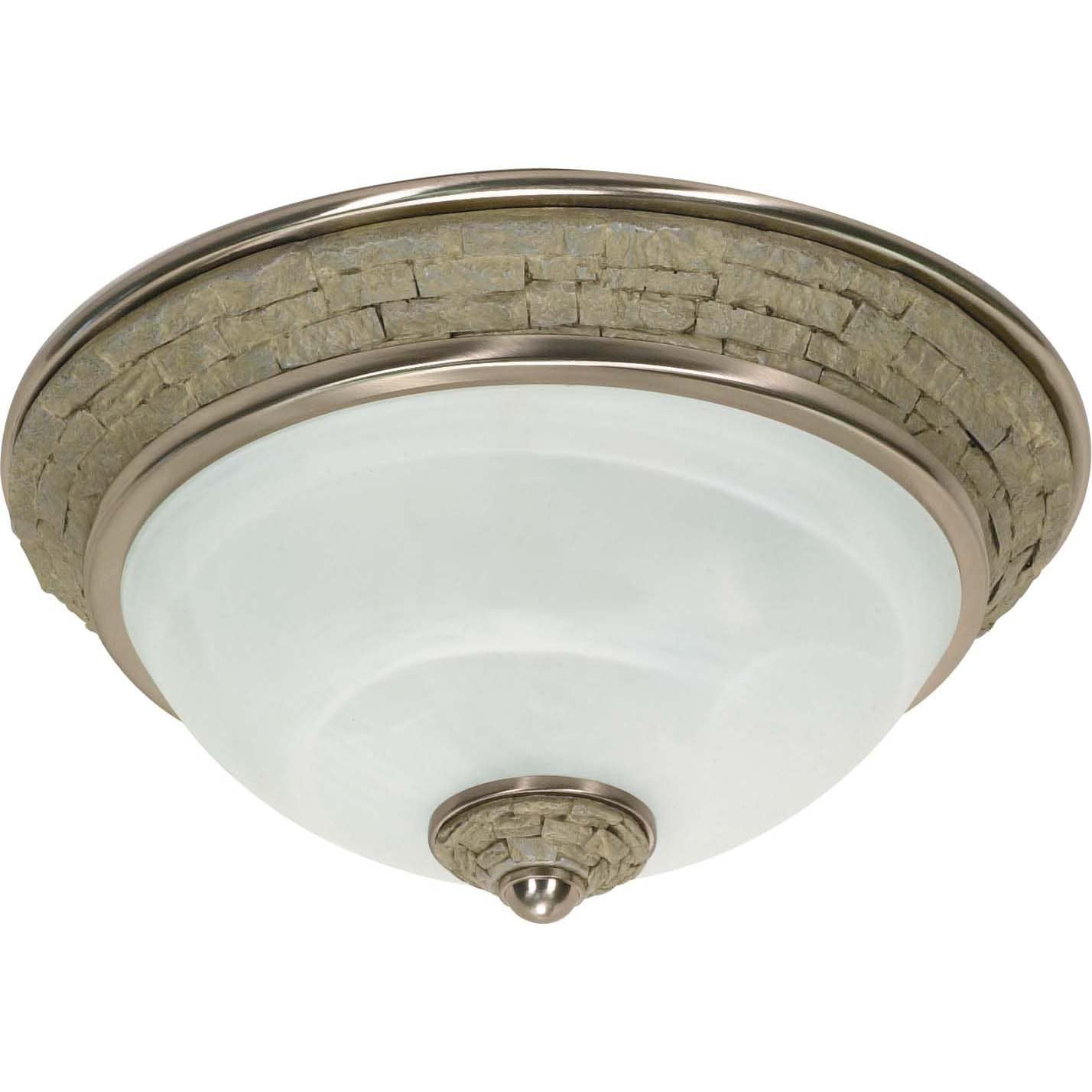 Rockport Milano Brushed Nickel Alabaster Glass 2-light Flush Dome Fixture - Thumbnail 0