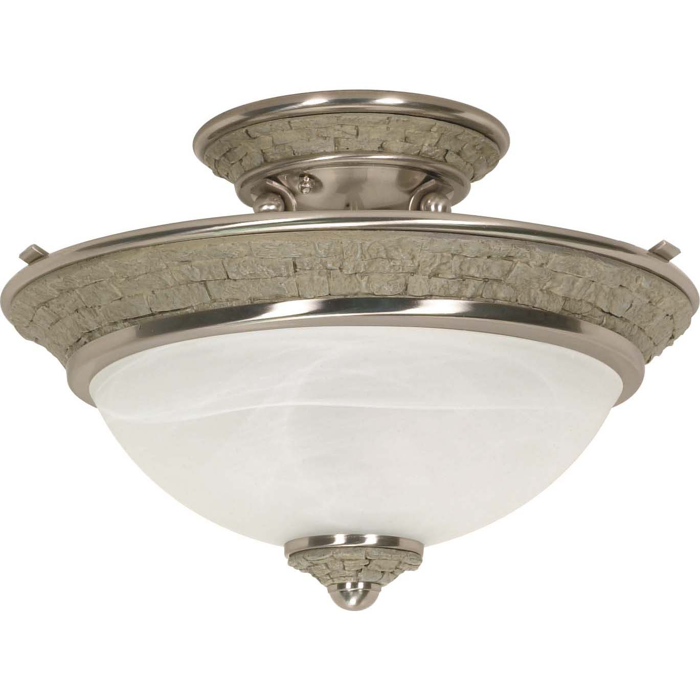 Rockport Milano Brushed Nickel Alabaster Glass 2-light Semi Flush Dome Fixture - Thumbnail 0