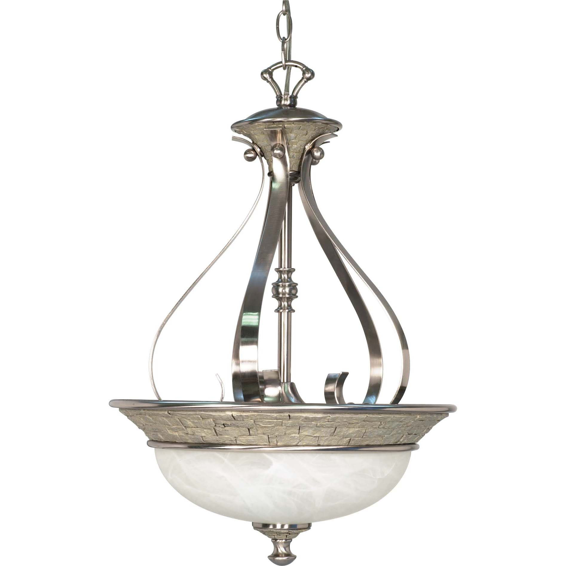 Rockport Milano Brushed Nickel Alabaster Glass 3-light Pendant Fixture - Thumbnail 0