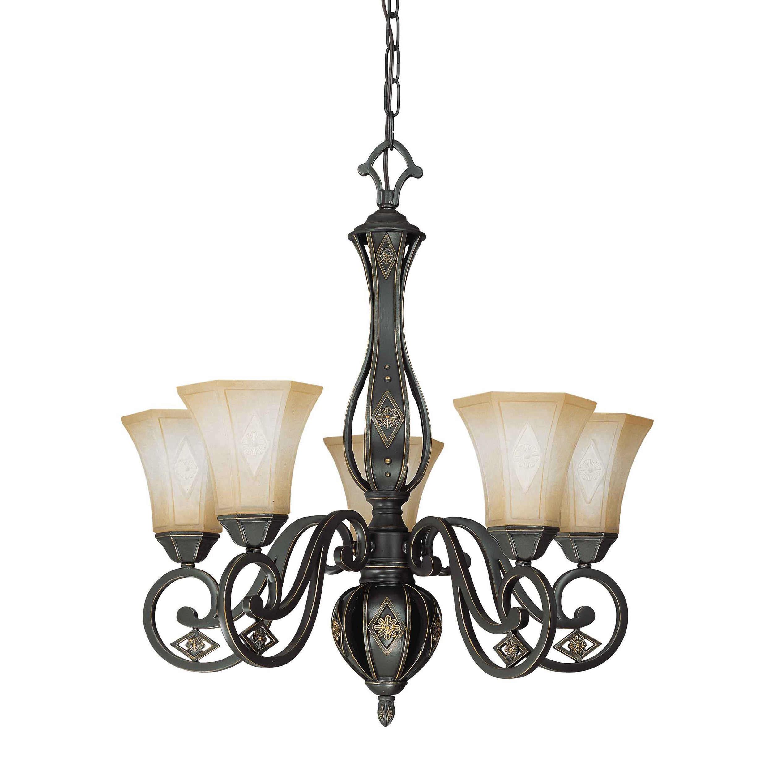 Brussells 5 Light 2 Tier Chandelier Belgium Bronze with Fresco Glass