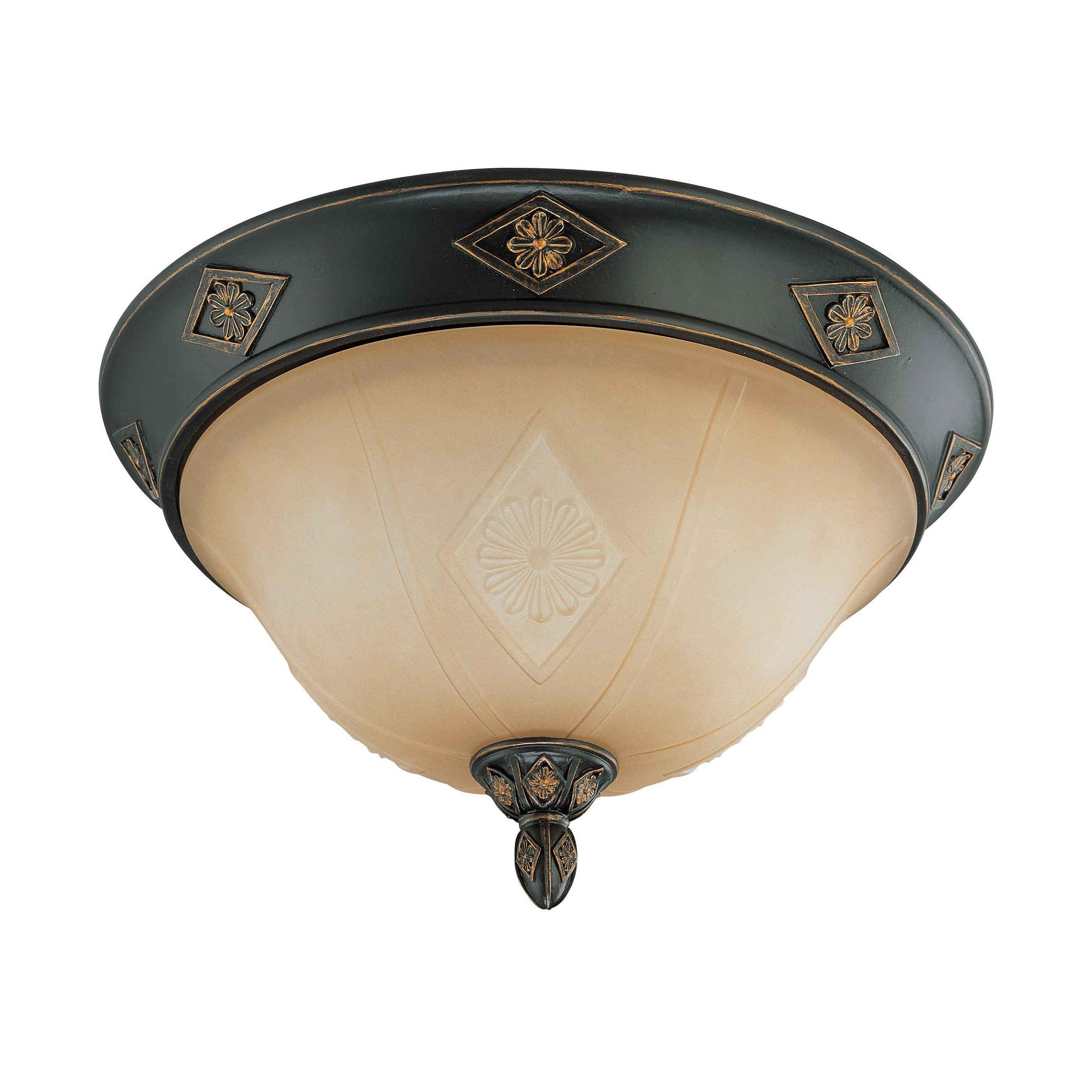 Brussells 2 Light 13 inch Flush Dome Belgium Bronze with Fresco Glass