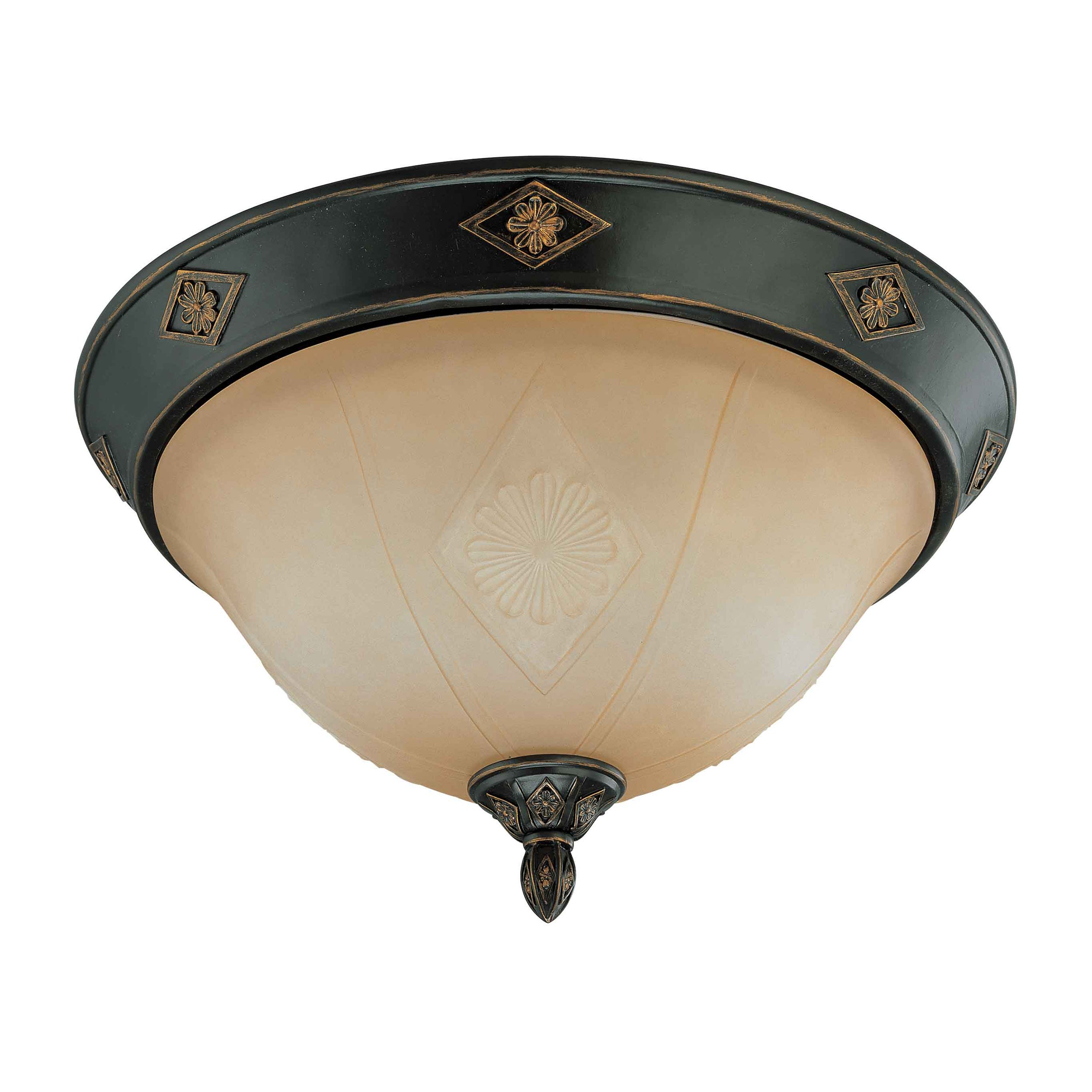 Brussells 3 Light 16 inch Flush Dome Belgium Bronze with Fresco Glass