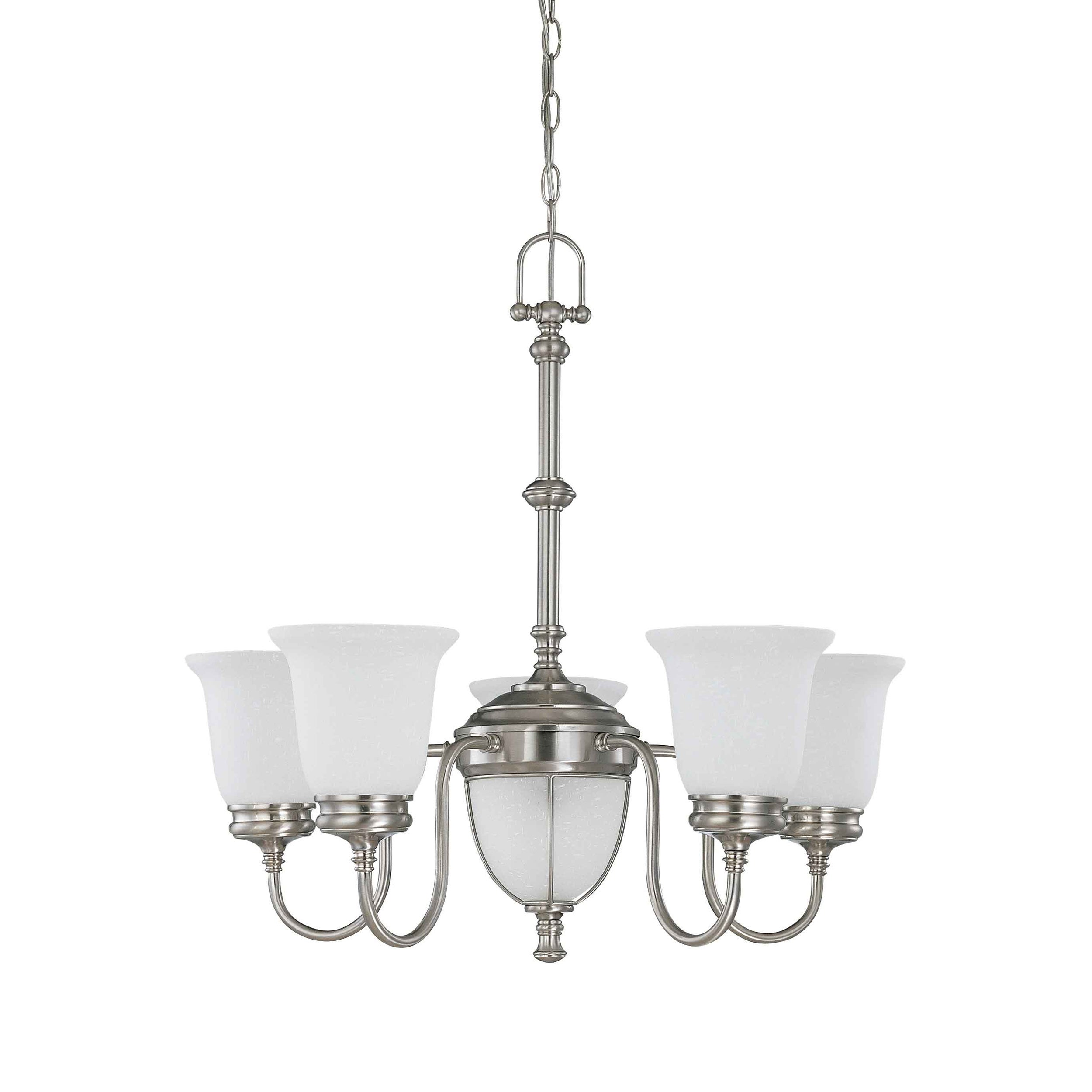 Salem 5 + 2 Light Brushed Nickel With Frosted Linen Glass Chandelier - Thumbnail 0
