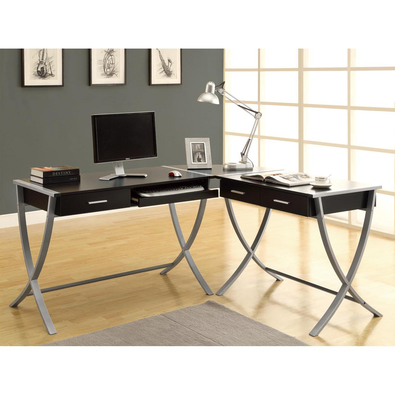 Hollow-core Cappuccino 3-piece Corner Desk - Thumbnail 0