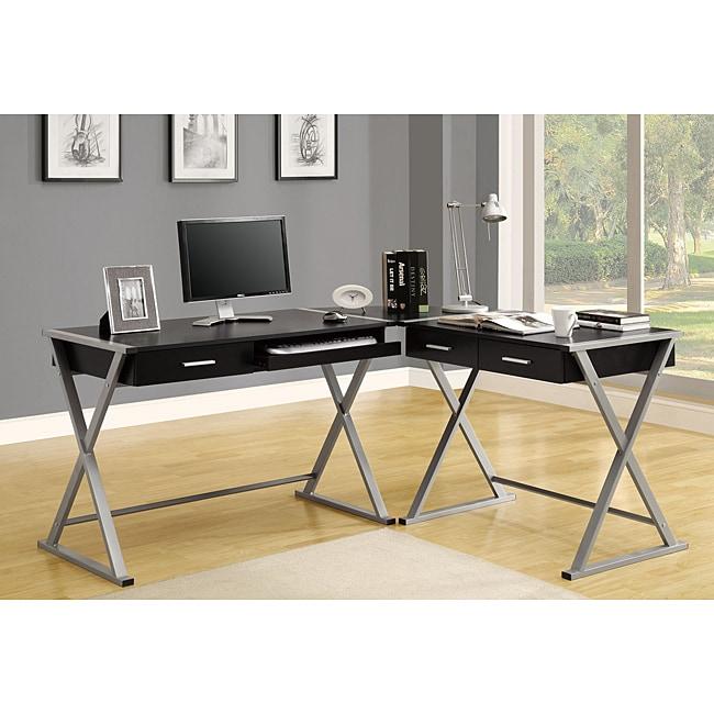 Hollow-core 3-piece Black Corner Desk