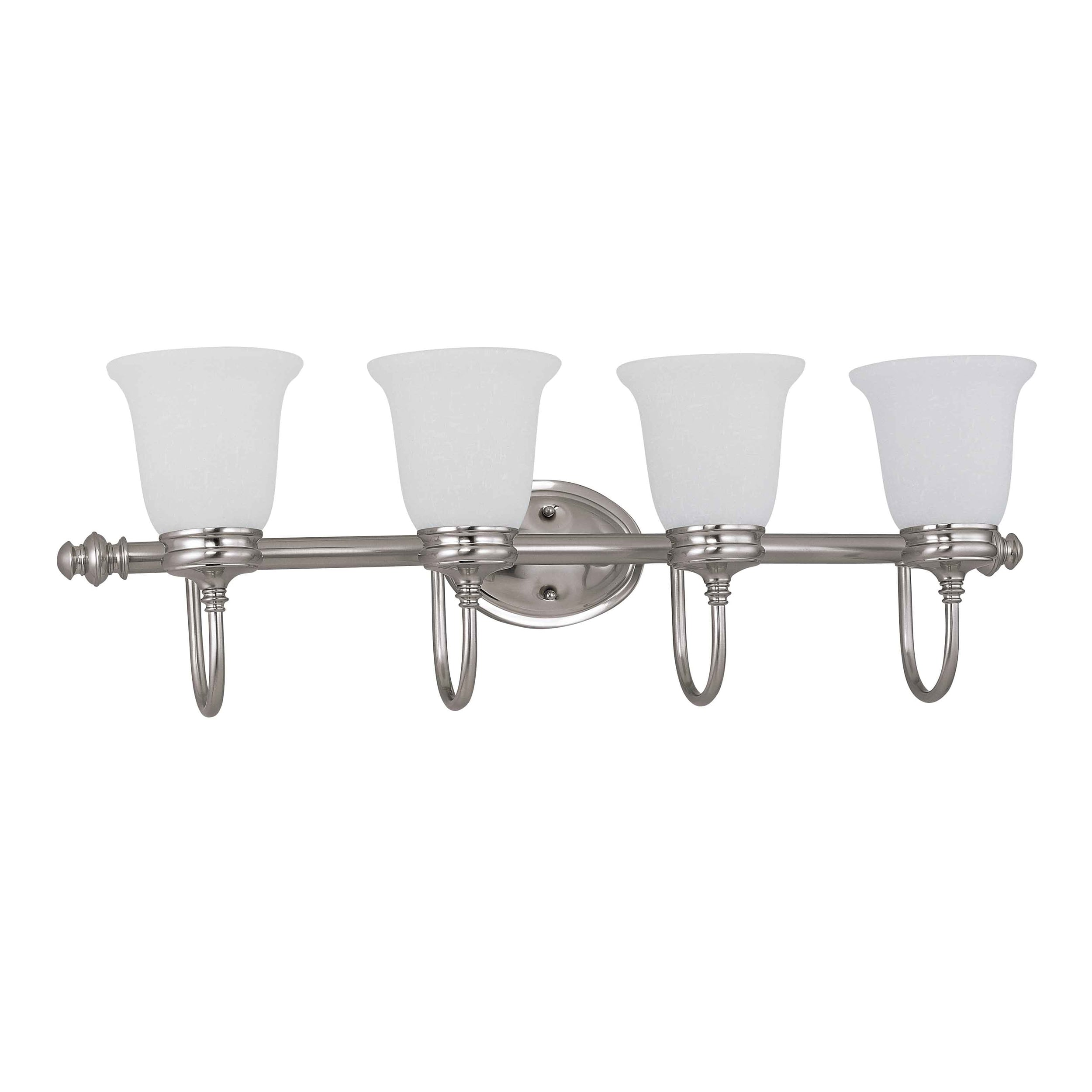 Salem 4 Light Brushed Nickel With Frosted Linen Glass Vanity