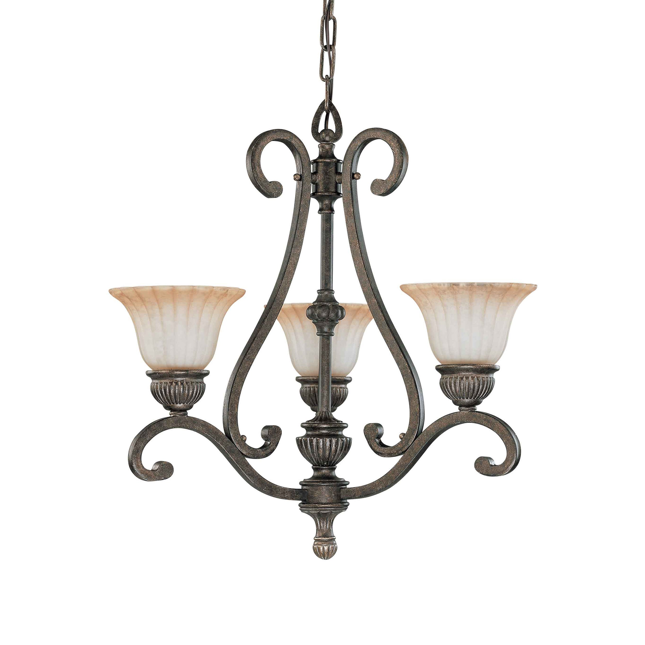 Fortunata 3 Light Lisbon Bronze With Corvo Amber Wash Glass Chandelier - Thumbnail 0