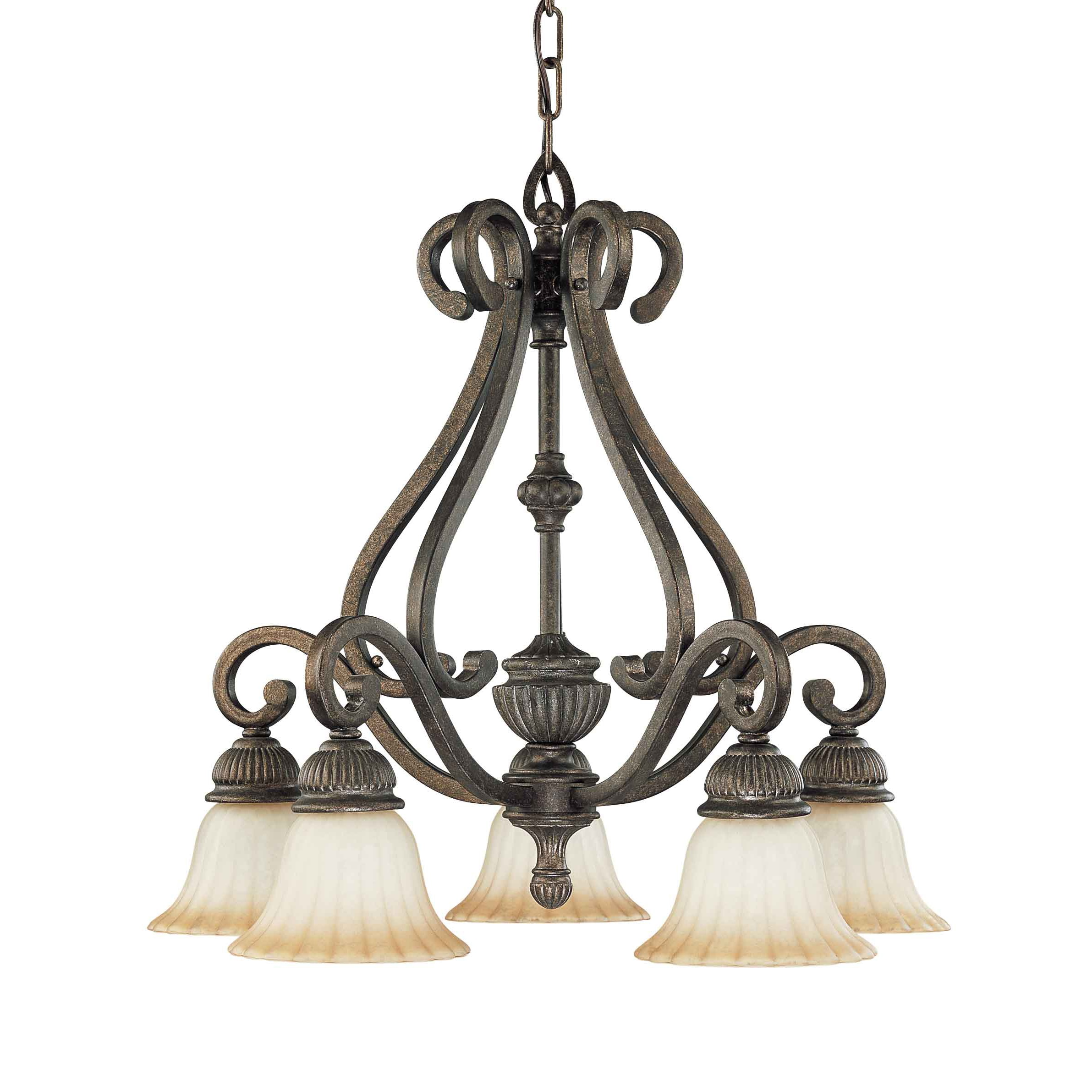 Fortunata 5 Light Lisbon Bronze With Corvo Amber Wash Glass Arm Down Chandelier - Thumbnail 0
