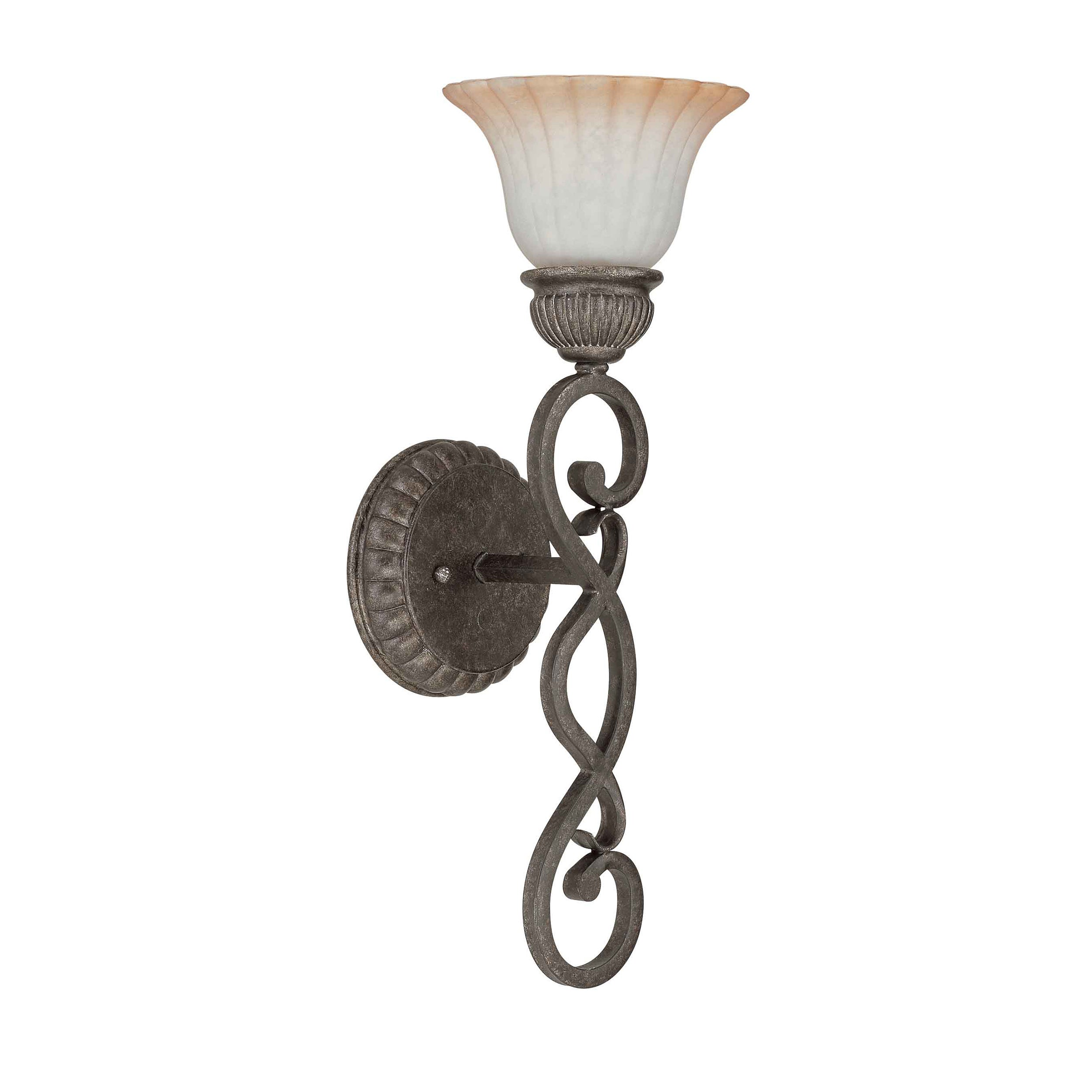 Fortunata 1 Light Lisbon Bronze With Corvo Amber Wash Glass Vanity