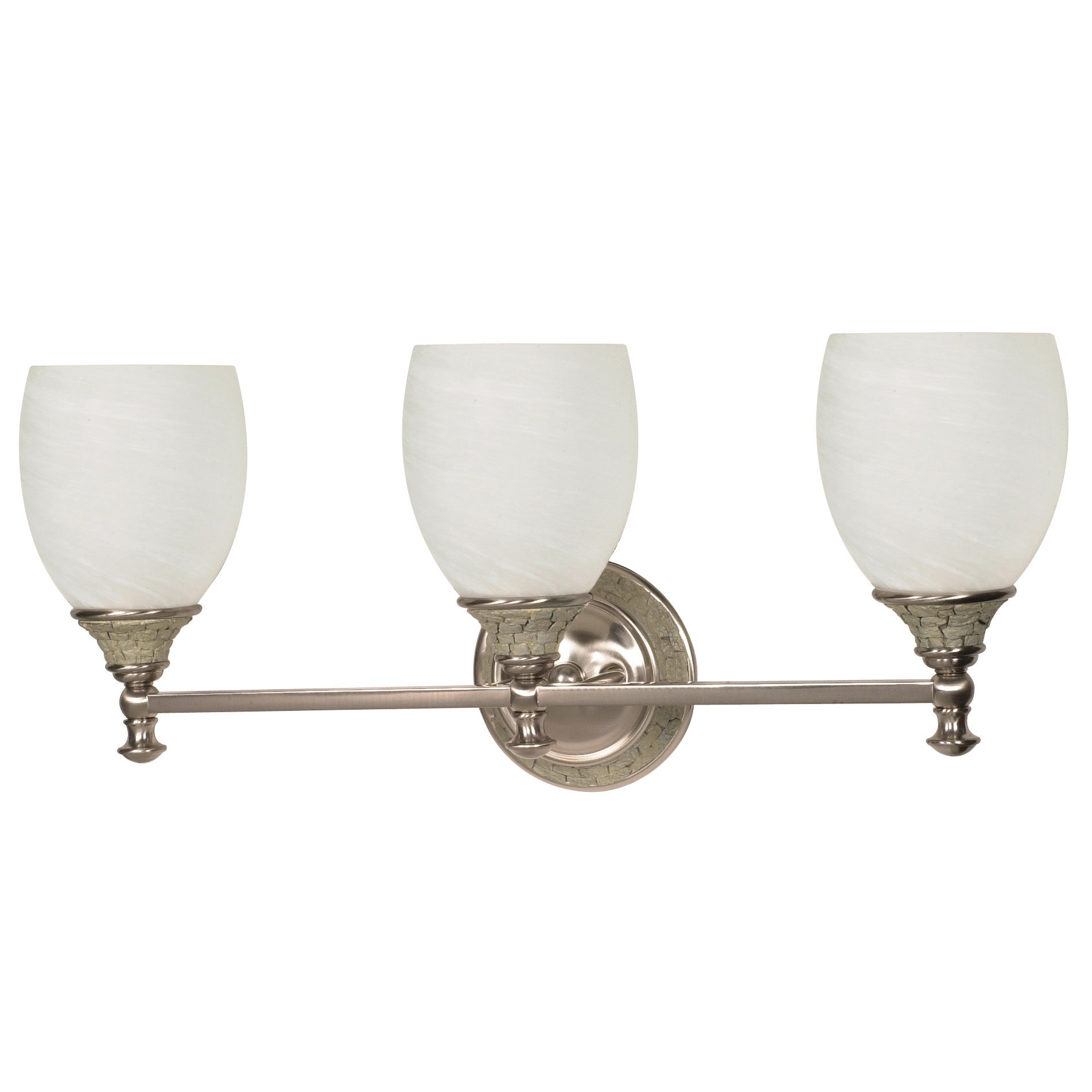 Rockport Milano 3 Light Brushed Nickel With Alabaster Swirl Glass Vanity