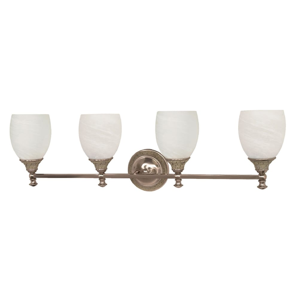 Rockport Milano 4 Light Brushed Nickel With Alabaster Swirl Glass Vanity