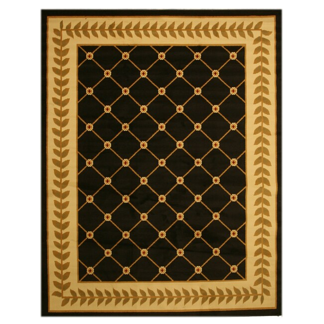 Pat Latice Border Black Rug (3'3 x 4'6)