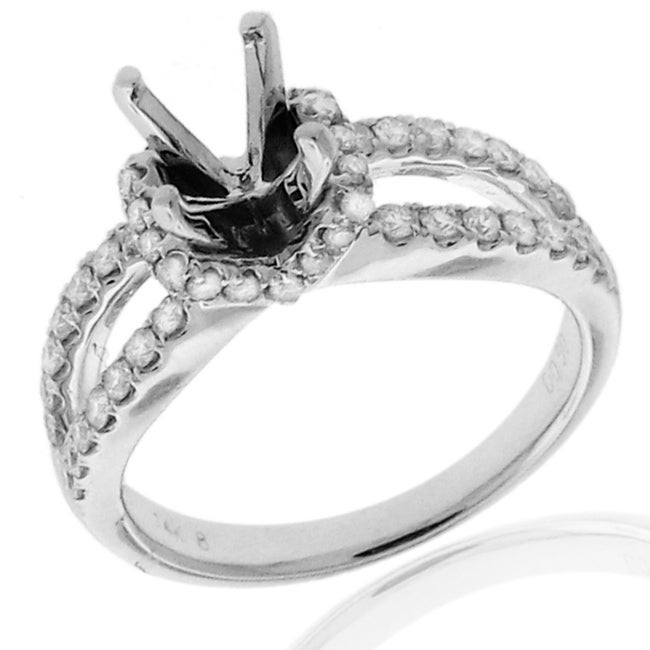 14k White Gold 1/2ct TDW Diamond Semi-mount Engagement Ring (G-H, SI1/SI2) - Thumbnail 0