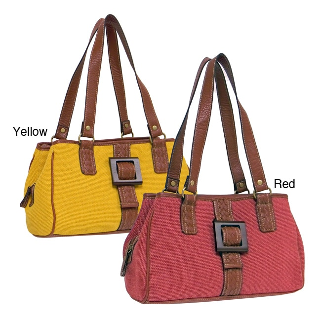Jetty Canvas Shoulder Bag with Wooden Buckle Detail