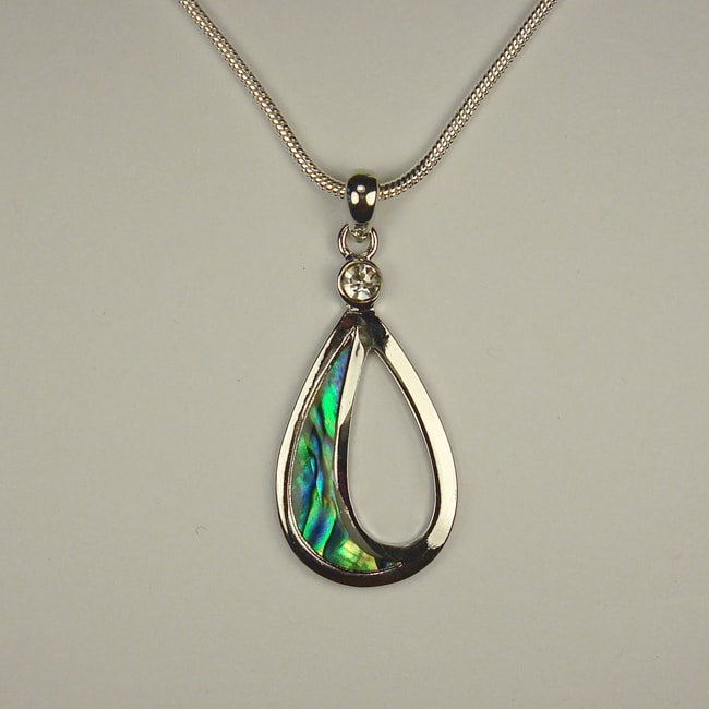 Jewelry by Dawn Open Oval Shaped Abalone Pendant Necklace