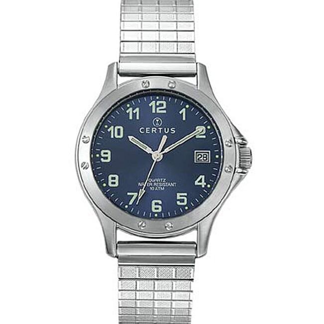 Certus Paris Men's Stainless Steel Expansion Band Blue Dial Watch