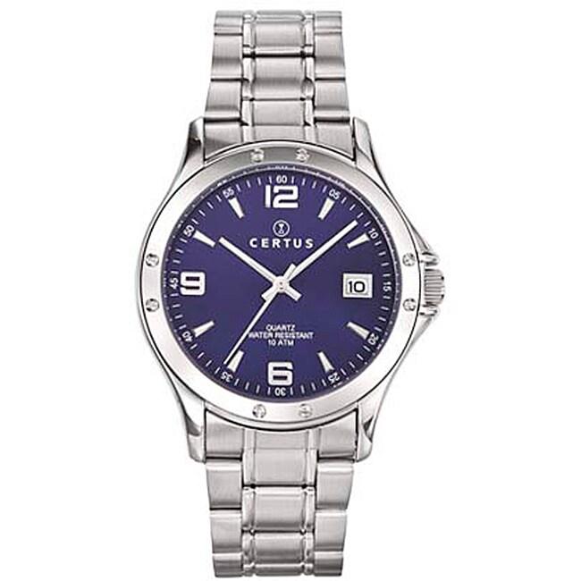 Certus Paris Men's Stainless Steel Blue Dial Date Quartz Watch