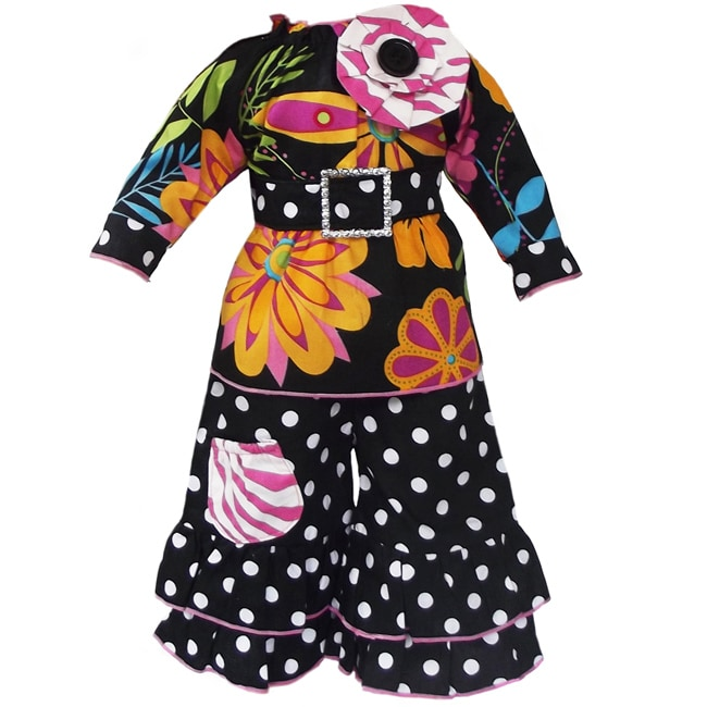 AnnLoren 2 piece Fashionable Floral and Polka Dots Outfit fits American Girl Doll