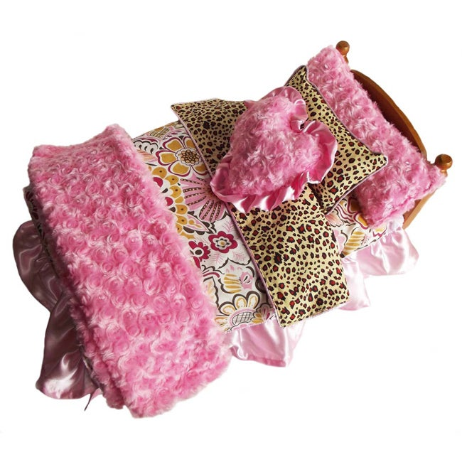 AnnLoren 7-piece Pink Floral/ Leopard/ Chenille Bedding Set for Dolls