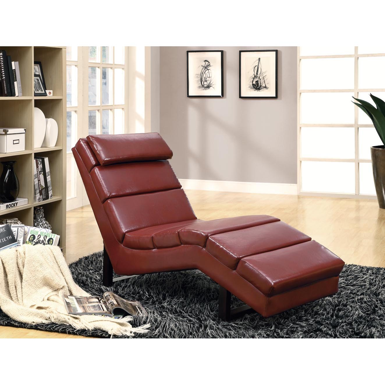 Red Leather-Look Chaise Lounger
