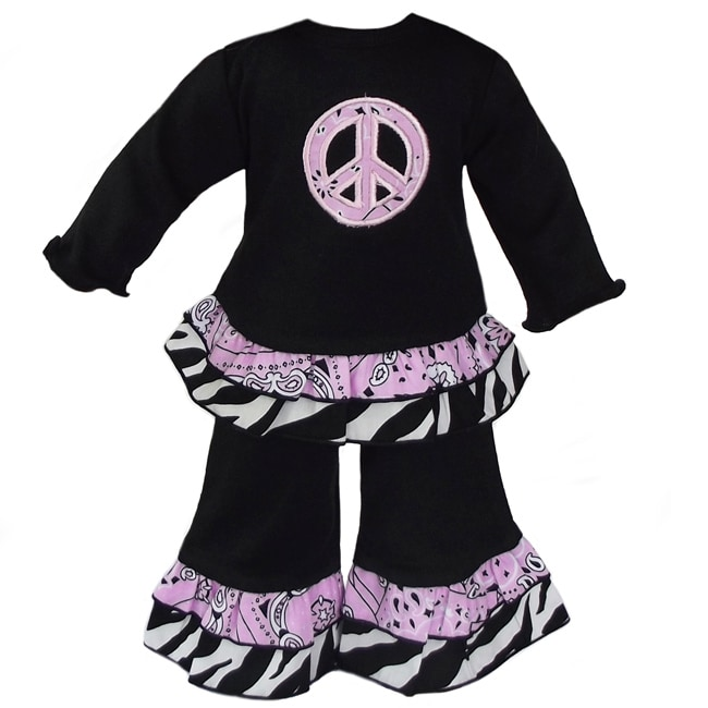 AnnLoren 2-piece Bandana Peace & Zebra Outfit fits American Girl Doll