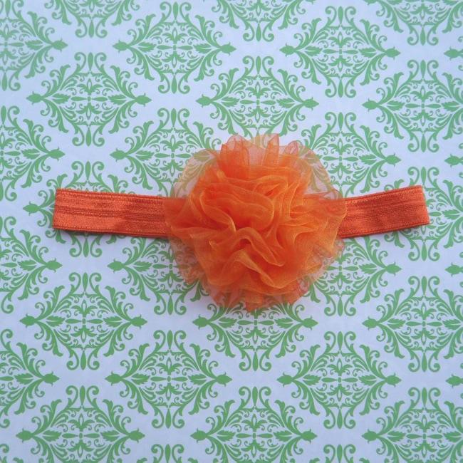 Orange Chiffon Flower Headband