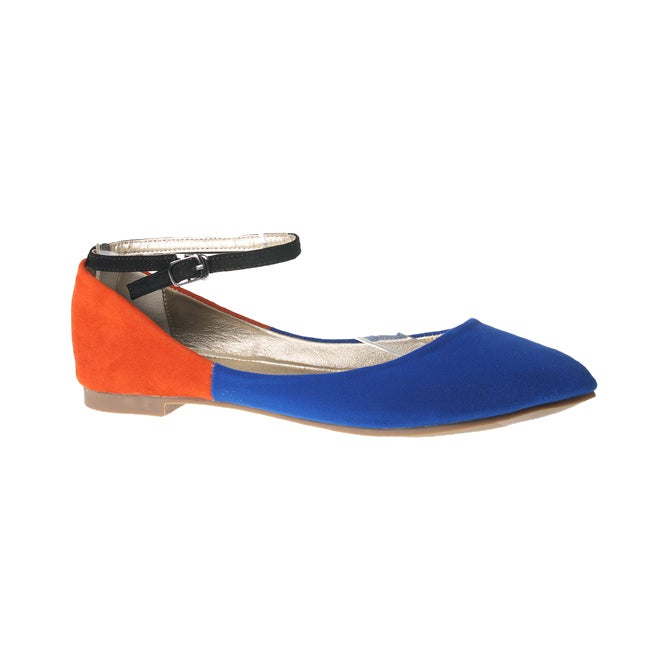 Refresh by Beston Women's Royal-Blue JULIA-03 Point Toe Flats