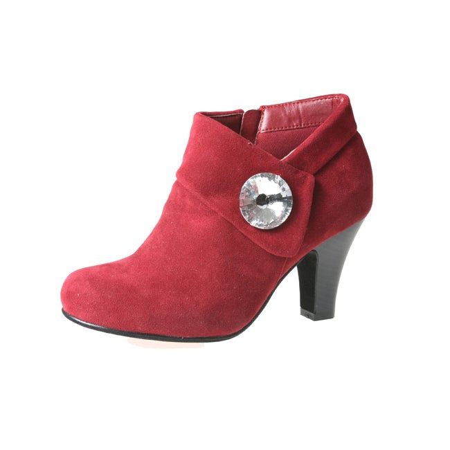 Story Women's NOVAE-02 Red Suede Rhinestone-Embellished Ankle Bootie