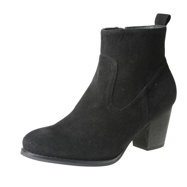Refresh by Beston Women's 'SALLY-01' Black Chunky-Heel Ankle Booties