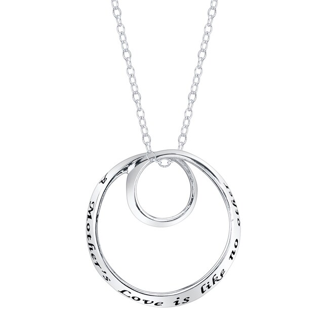 Sterling Silver 'A Mother's Love is Like No Other' Swirl Round Necklace