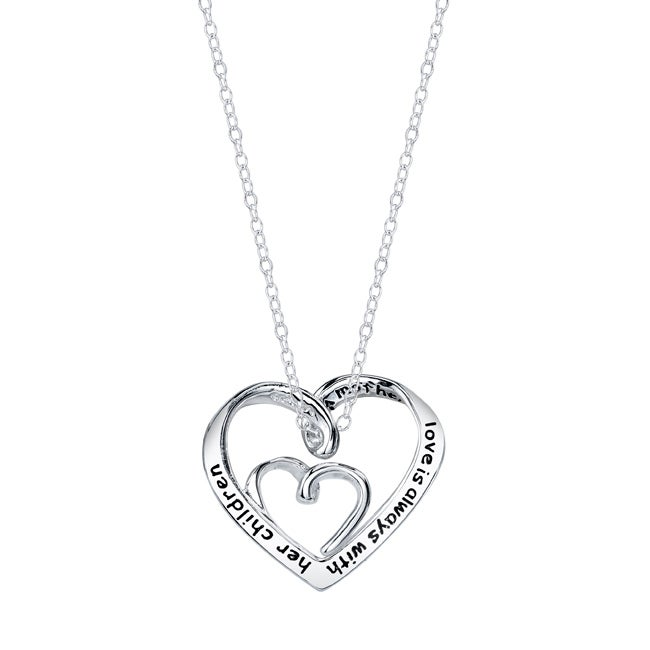 Silver 'A Mother's Love is Always with Her Children' Heart Necklace - Thumbnail 0