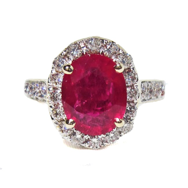 California Girl Jewelry 14k Yellow Gold Ruby and Diamond Designer Ring (Size 9)