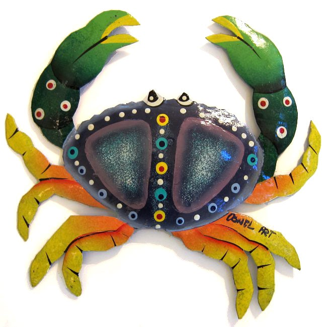 Recycled Steel Drum Green and Orange Crab (Haiti)