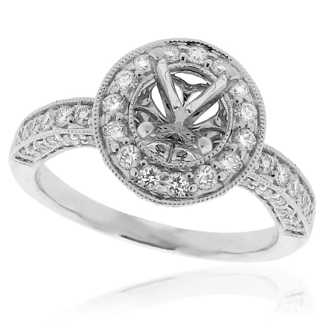 14Kt White Gold 1ct TDW Semi Mount Diamond Ring - Thumbnail 0