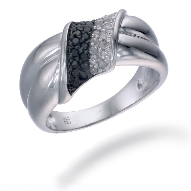 Sterling Silver 1/3ct TDW Black and White Diamond Twist Ring (I-J, I2-I3)