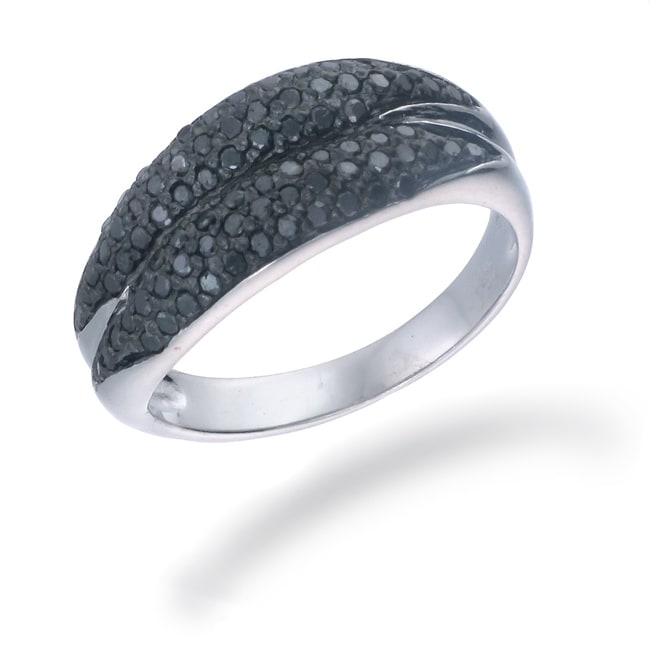Sterling Silver 3/5ct TDW Black Diamond Double Row Ring