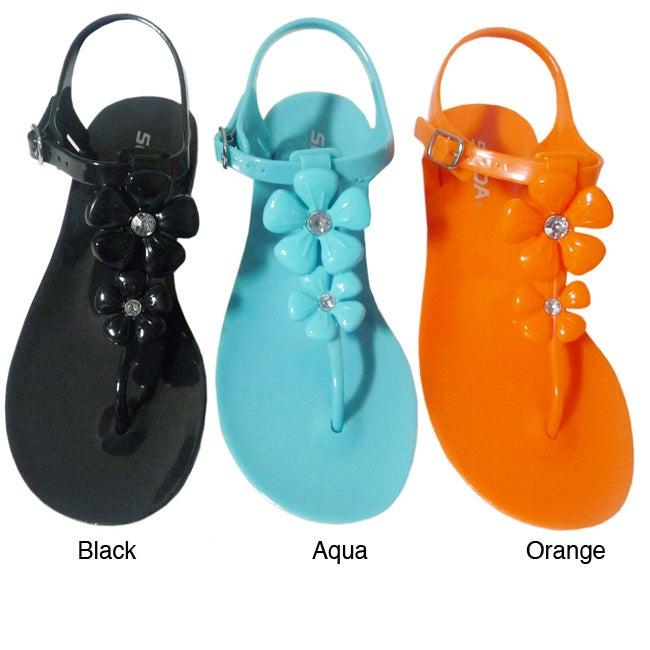 I-Comfort Women's Flower Jelly Sandals