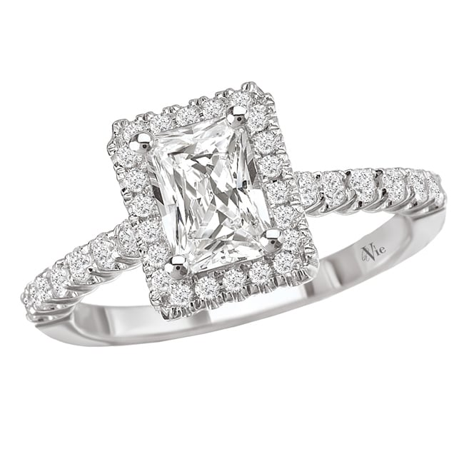 Avanti 14k White Gold 1/3ct TDW Diamond Halo Engagement Ring (G/H, SI1-SI2) - Thumbnail 0