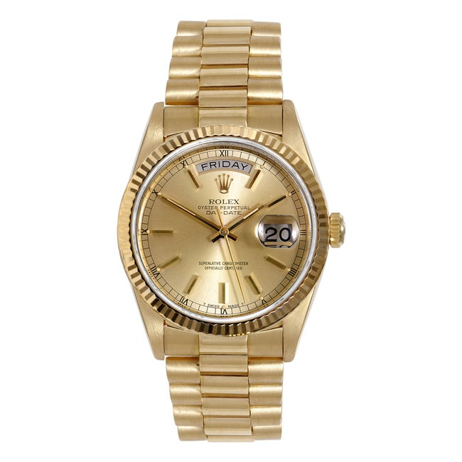 Pre-owned Rolex Men's 18-karat President Watch