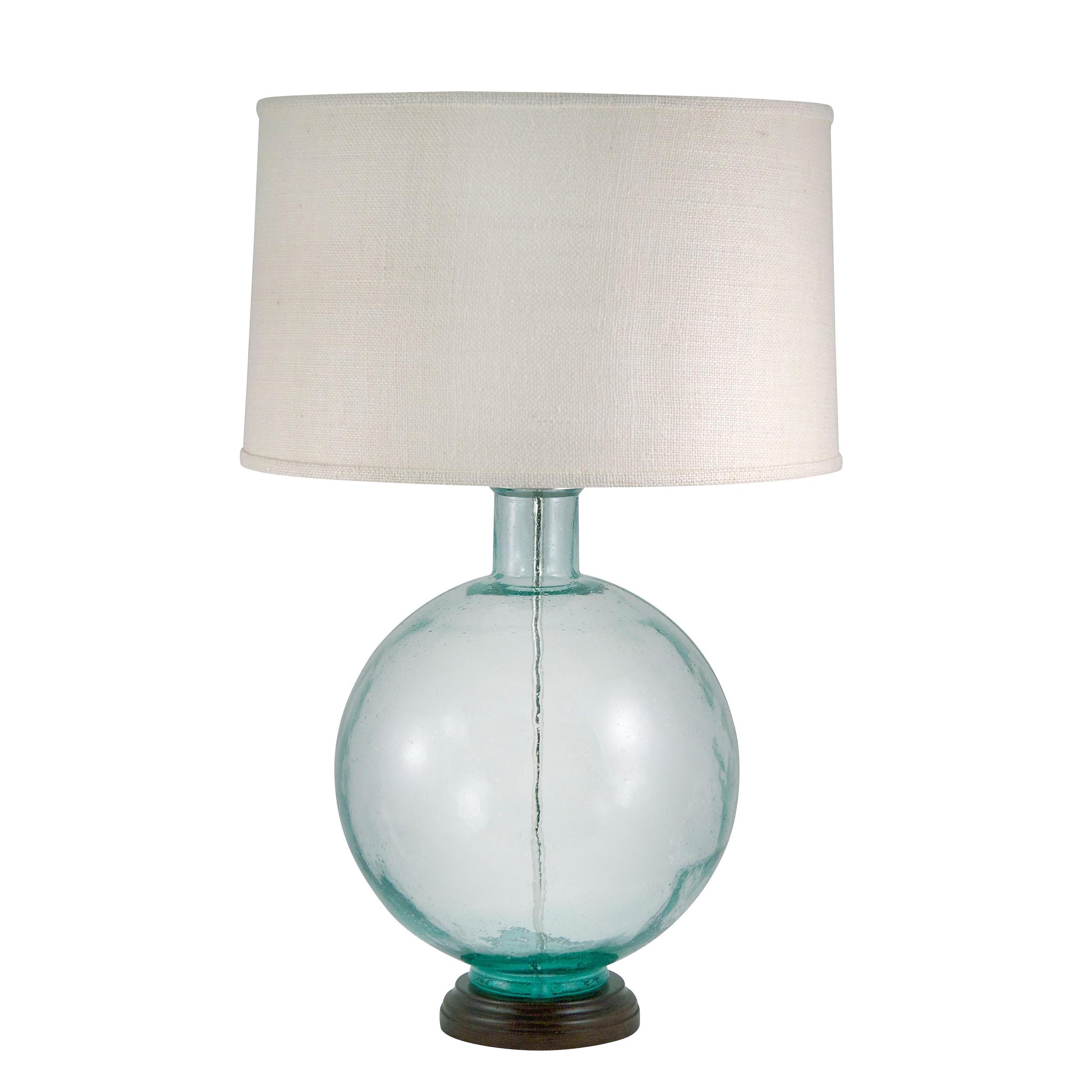 Recycled Aqua Glass Urn Rain Finish Lamp