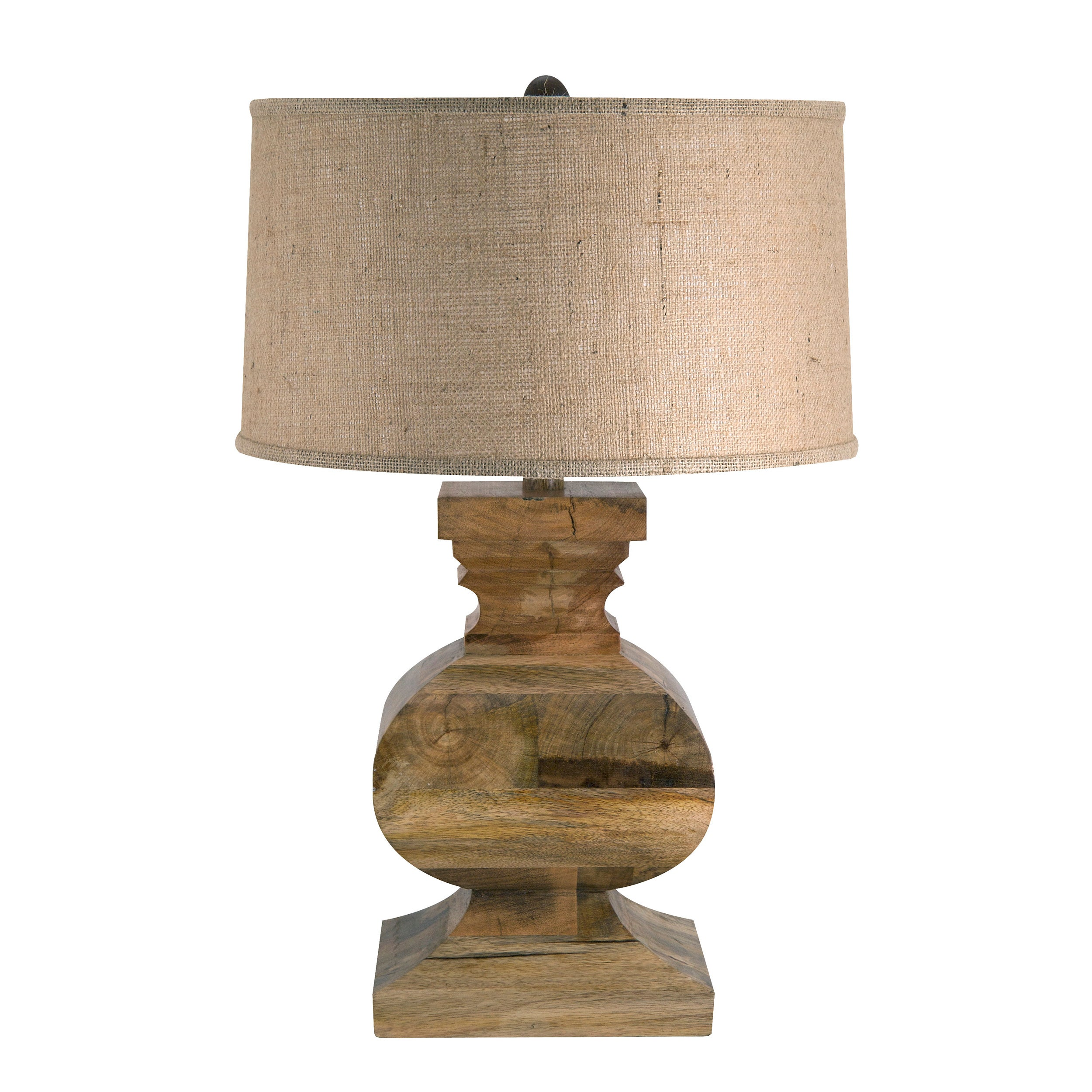 Solid Wood Curved Block Lamp