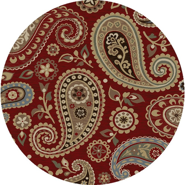 Infinity Collection Red Area Rug (5'3 Round)