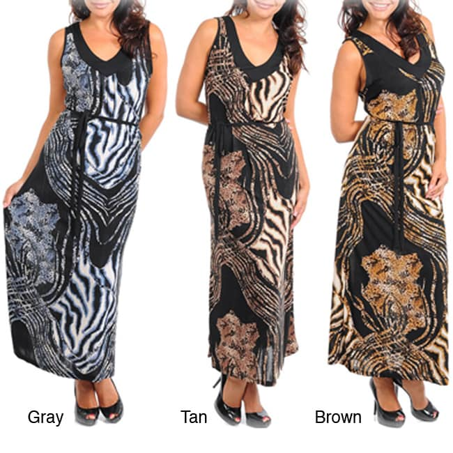 Stanzino Women's Plus Animal Print Maxi Dress