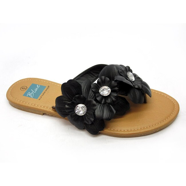 Blue Women's 'Florster' Black Thong Sandals