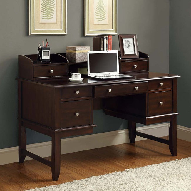 Cappuccino Solid Wood Office Desk / Hutch