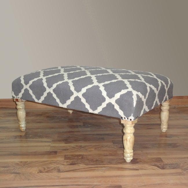 nuLOOM Hand Upholstered Moroccan Trellis Grey Wood Bench