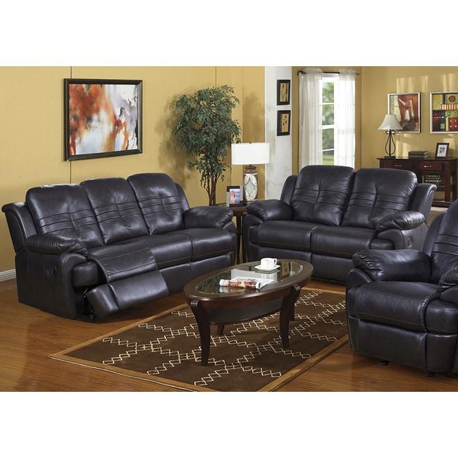 Rota Suede Leather 2 Piece Reclining Sofa Set